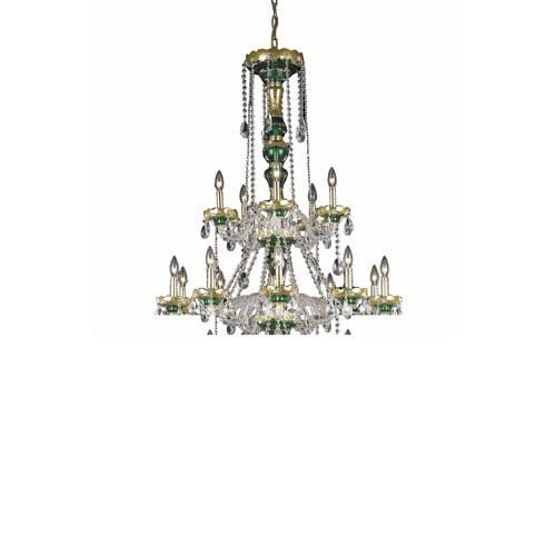 Alexandria Green Thirty-Light Chandelier with Clear Royal Cut Crystals