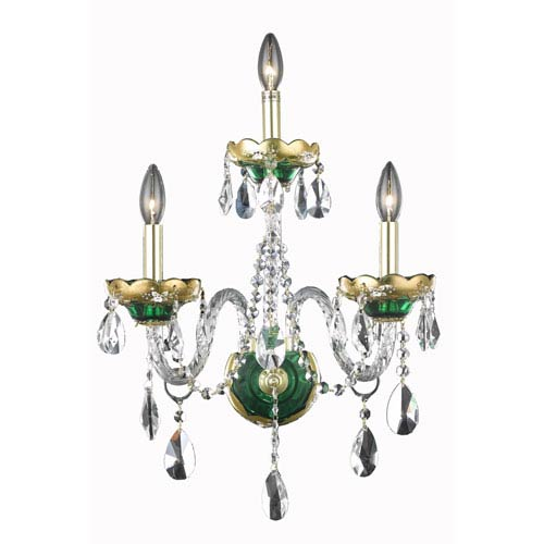 Elegant Lighting Alexandria Green Three-Light Sconce with Clear Royal Cut Crystals