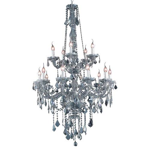 Elegant Lighting Verona Silver Shade Fifteen-Light Chandelier with Royal Cut Crystals