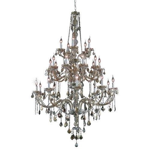 Elegant Lighting Verona Golden Teak Twenty-Five Light Chandelier with Golden Teak/Smoky Royal Cut Crystals