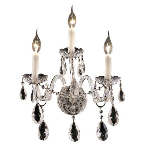 Elegant Lighting Alexandria Chrome Three-Light 13-Inch Wall Sconce with Royal Cut Clear Crystal