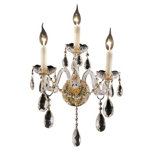 Elegant Lighting Alexandria Gold Three-Light 13-Inch Wall Sconce with Royal Cut Clear Crystal