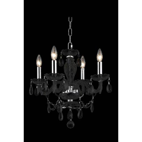 Princeton Black Four-Light Chandelier with Clear Royal Cut Crystals
