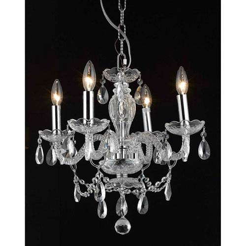 Elegant Lighting Princeton Chrome Four-Light 17-Inch Chandelier with Royal Cut Clear Crystal