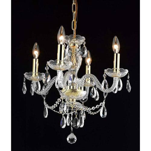 Elegant Lighting Princeton Gold Four-Light 17-Inch Chandelier with Royal Cut Clear Crystal