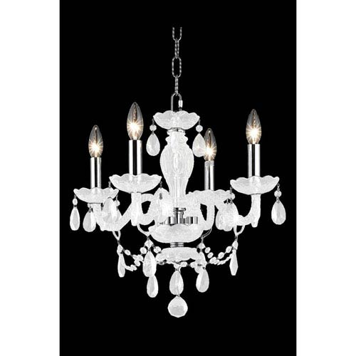 Elegant Lighting Princeton White Four-Light Chandelier with White Royal Cut Crystals