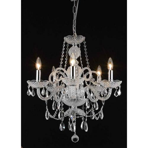 Elegant Lighting Princeton Chrome Five-Light 20-Inch Chandelier with Royal Cut Clear Crystal