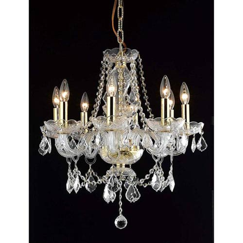 Princeton Gold Eight-Light 20-Inch Chandelier with Royal Cut Clear Crystal