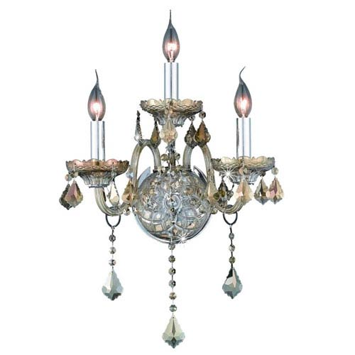 Elegant Lighting Verona Golden Teak Three-Light Sconce with Golden Teak/Smoky Royal Cut Crystals