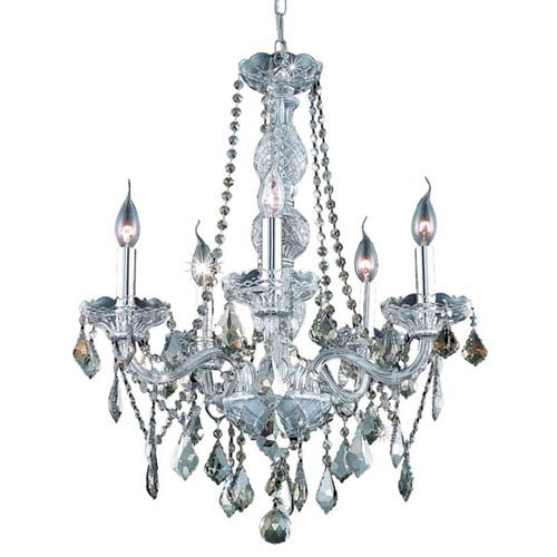 Elegant Lighting Verona Chrome Five-Light Chandelier with Golden Teak/Smoky Royal Cut Crystals