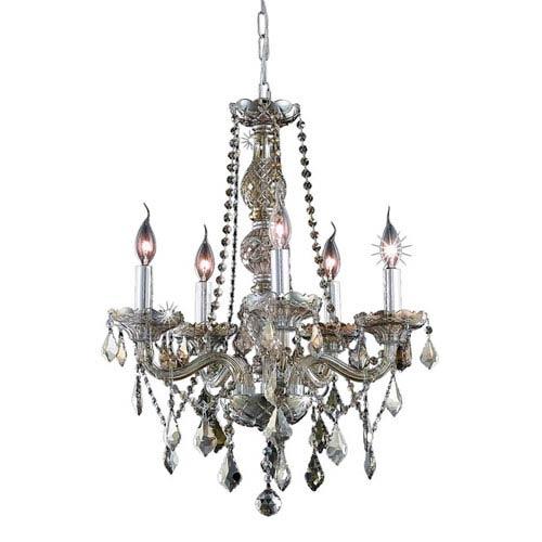 Elegant Lighting Verona Golden Teak Five-Light Chandelier with Golden Teak/Smoky Royal Cut Crystals