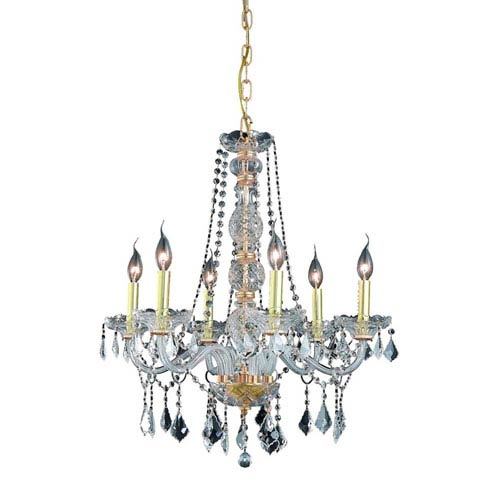 Elegant Lighting Verona Gold Six-Light Chandelier with Clear Royal Cut Crystals