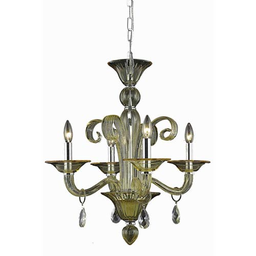 Muse Yellow Four-Light Chandelier with Golden Shadow/Champagne Royal Cut Crystals