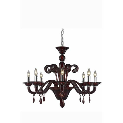 Muse Red Eight-Light Chandelier with Bordeaux/Red Royal Cut Crystals