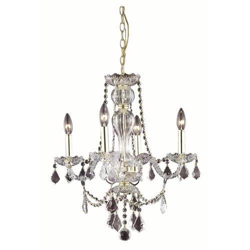 Elegant Lighting Giselle Gold Four-Light Chandelier with Royal Cut Crystal