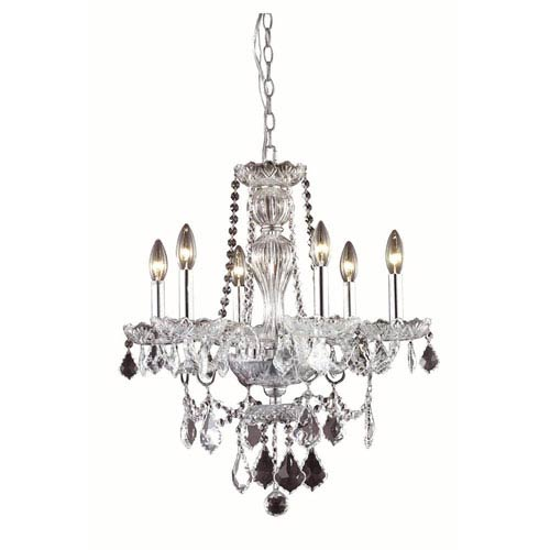 Giselle Chrome Six-Light Chandelier with Royal Cut Crystal