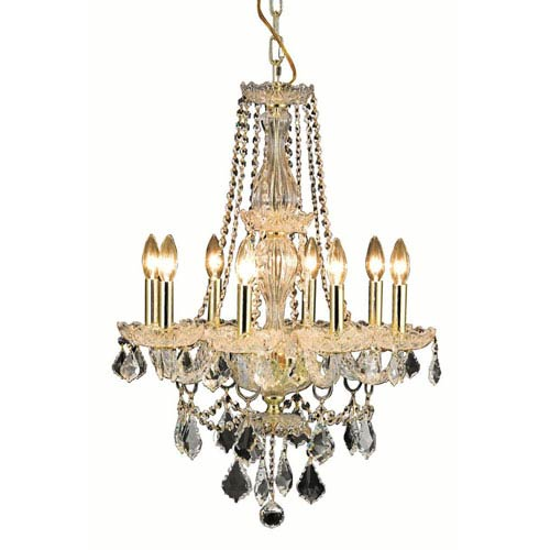 Elegant Lighting Giselle Gold Eight-Light Chandelier with Royal Cut Crystal
