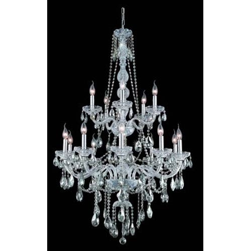 Verona Chrome Fifteen-Light Chandelier with Clear Royal Cut Crystals
