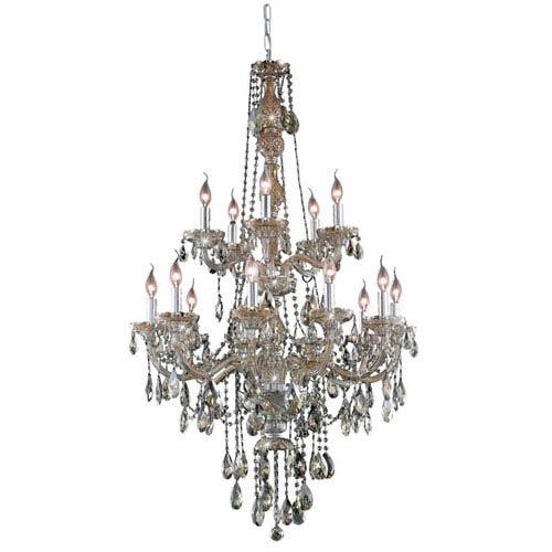 Elegant Lighting Verona Golden Teak Fifteen-Light Chandelier with Golden Teak/Smoky Royal Cut Crystals