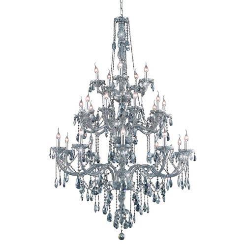 Elegant Lighting Verona Silver Shade Twenty-Five Light Chandelier with Royal Cut Crystals