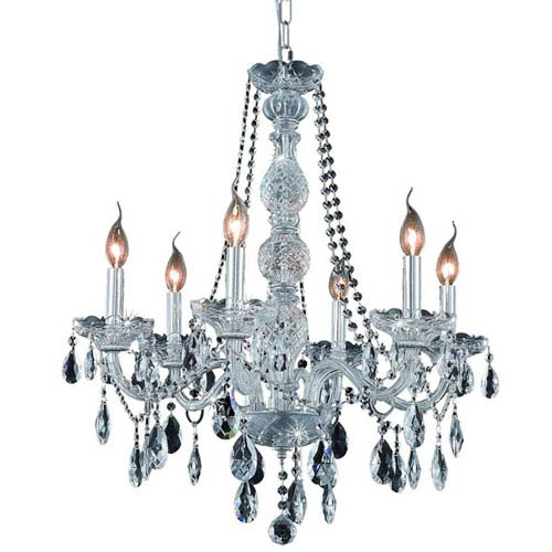 Elegant Lighting Verona Chrome Six-Light Chandelier with Clear Royal Cut Crystals
