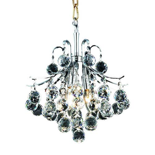 Elegant Lighting Toureg Chrome Three-Light 12-Inch Pendant with Royal Cut Clear Crystal