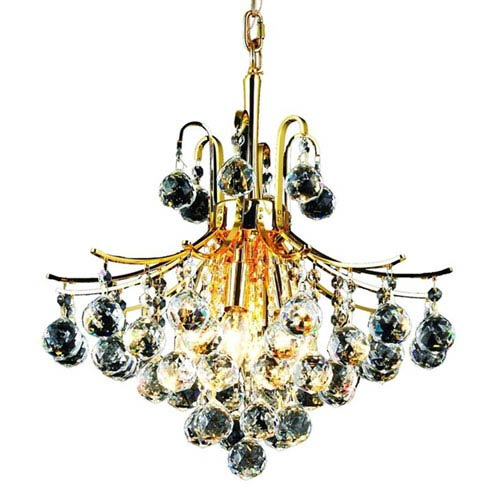 Elegant Lighting Toureg Gold Six-Light 16-Inch Pendant with Royal Cut Clear Crystal