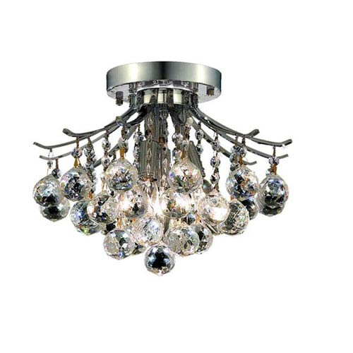 Elegant Lighting Toureg Chrome Three-Light 12-Inch Flush Mount with Royal Cut Clear Crystal