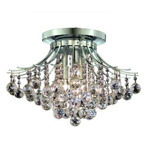 Elegant Lighting Toureg Chrome Six-Light 19-Inch Flush Mount with Royal Cut Clear Crystal
