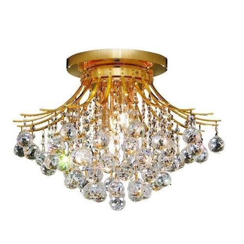 Elegant Lighting Toureg Gold Six-Light 19-Inch Flush Mount with Royal Cut Clear Crystal