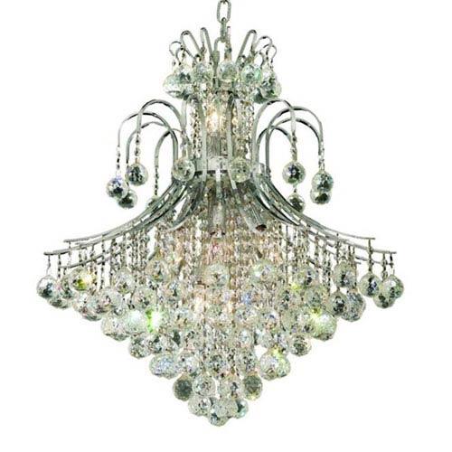 Toureg Chrome Fifteen-Light 25-Inch Chandelier with Royal Cut Clear Crystal