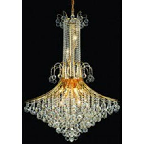 Elegant Lighting Toureg Gold Sixteen-Light Chandelier with Clear Royal Cut Crystals