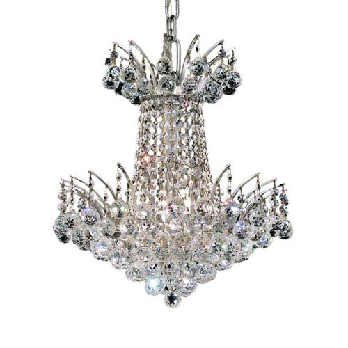 Elegant Lighting Victoria Chrome Four-Light Chandelier with Clear Royal Cut Crystals