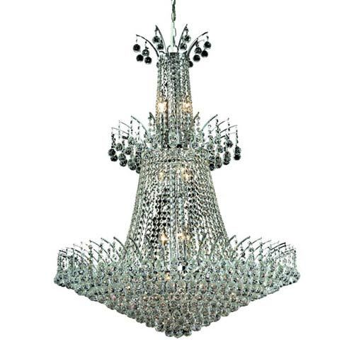 Elegant Lighting Victoria Chrome Eighteen-Light Chandelier with Clear Royal Cut Crystals
