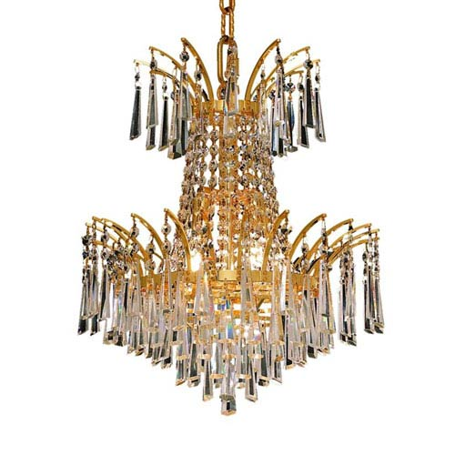 Elegant Lighting Victoria Gold Four-Light Chandelier with Clear Royal Cut Crystals
