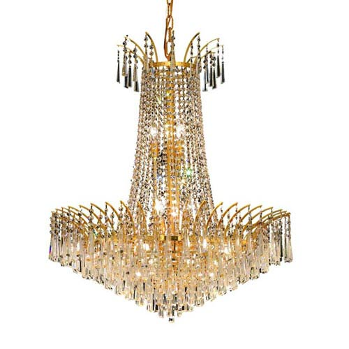 Elegant Lighting Victoria Gold Sixteen-Light Chandelier with Clear Royal Cut Crystals