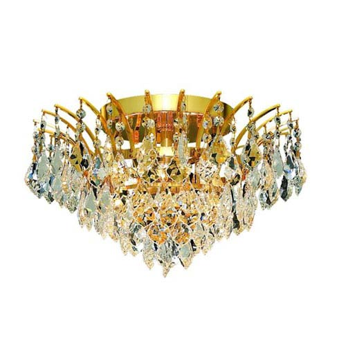 Elegant Lighting Victoria Gold Six-Light Flush Mount with Clear Royal Cut Crystals