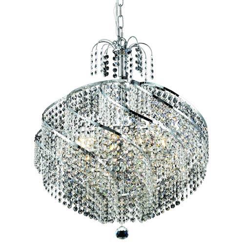 Elegant Lighting Spiral Chrome Ten-Light 22-Inch Pendant with Royal Cut Clear Crystal