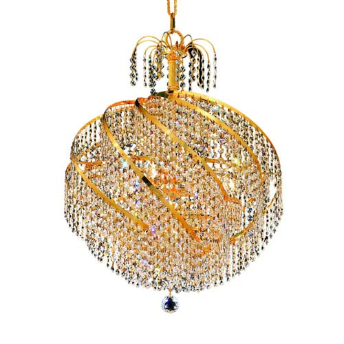 Spiral Gold Ten-Light 22-Inch Pendant with Royal Cut Clear Crystal