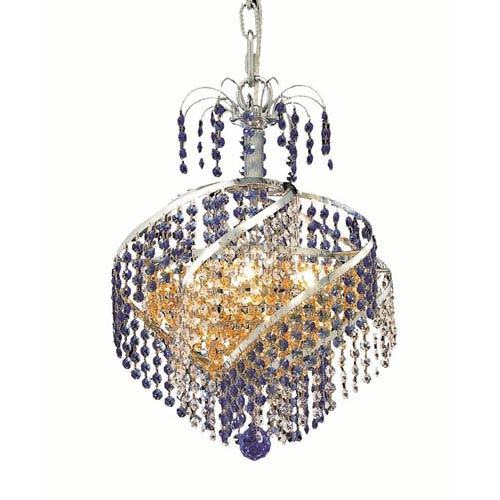 Elegant Lighting Spiral Chrome Three-Light Chandelier with Royal Cut Crystal