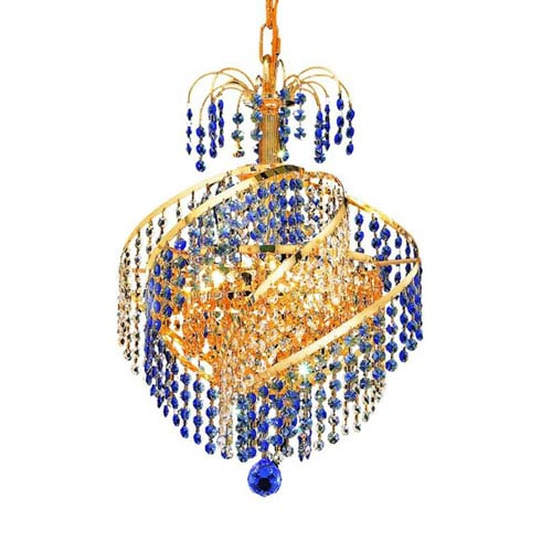 Spiral Gold Three-Light Chandelier with Royal Cut Crystal