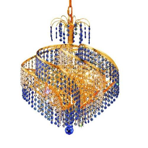 Elegant Lighting Spiral Gold Eight-Light Chandelier with Royal Cut Crystal