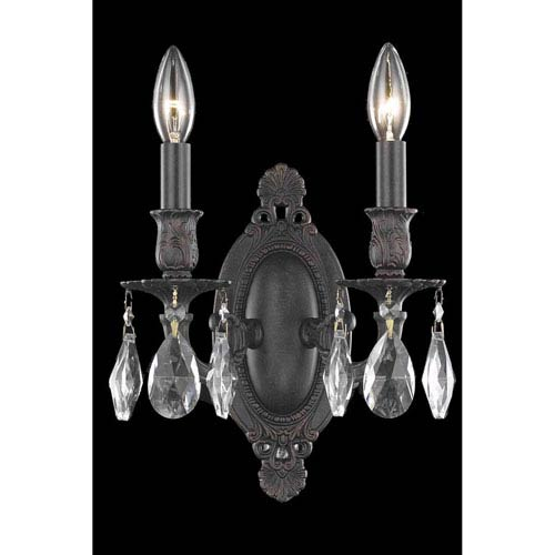 Rosalia Dark Bronze Two-Light Wall Sconce with Royal Cut Crystal