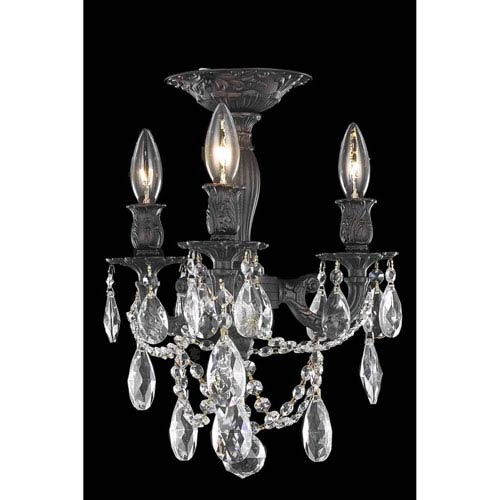 Elegant Lighting Rosalia Dark Bronze Three-Light Flush Mount with Royal Cut Crystal