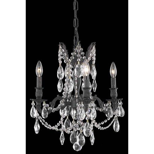 Elegant Lighting Rosalia Dark Bronze 17-Inch Four-Light Chandelier with Royal Cut Crystal
