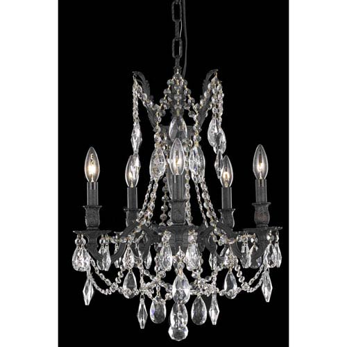 Rosalia Dark Bronze Five-Light Chandelier with Royal Cut Crystal