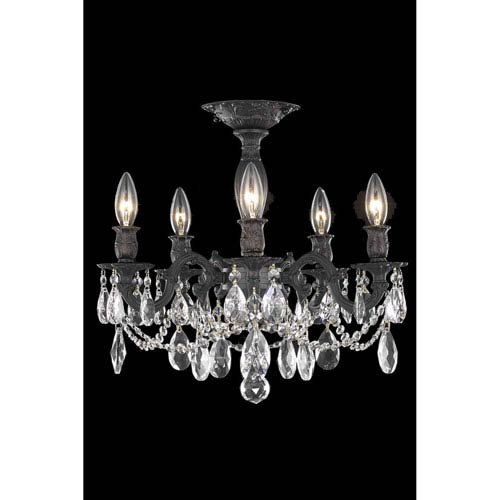 Elegant Lighting Rosalia Dark Bronze Five-Light Flush Mount with Royal Cut Crystal
