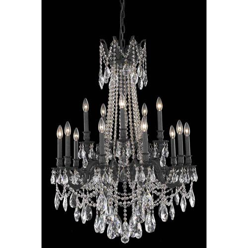 Rosalia Dark Bronze 15-Light Chandelier with Royal Cut Crystal