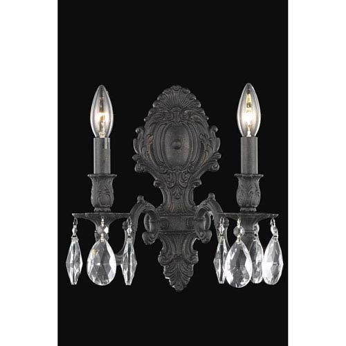 Elegant Lighting Monarch Dark Bronze Two-Light Wall Sconce with Royal Cut Crystal