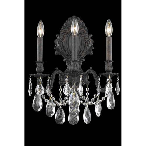 Elegant Lighting Monarch Dark Bronze Three-Light Wall Sconce with Royal Cut Crystal